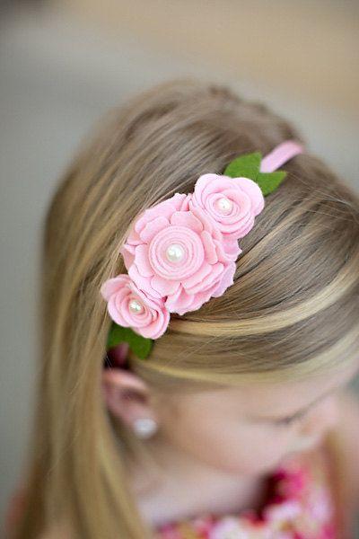 Rosa diadema de fieltro fieltro diadema por SwankyPickleBoutique