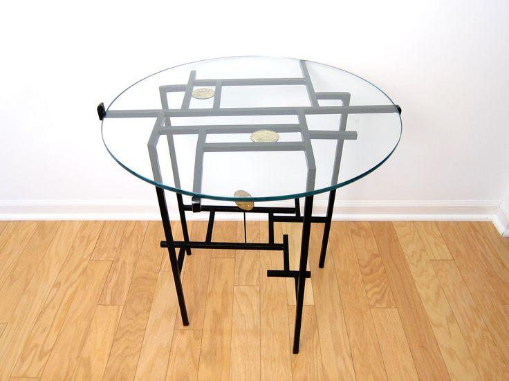 Modernist Brutalist Studio Metal End Table  by ObjectOfBeauty, $435.00