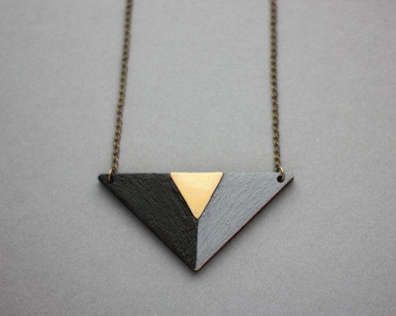 Wooden Triangle Necklace (Black - Grey - Bronze) - Modern Handmade Jewellery