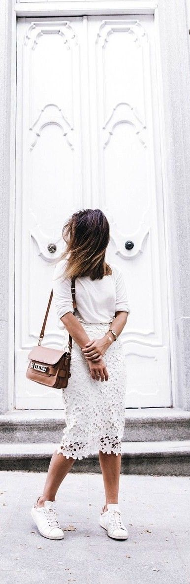 White Lace Midi Skirt With Sweater, Sneakers and Proenza Schouler Bag.