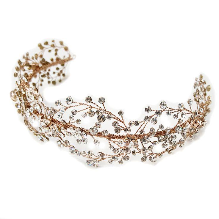 Exquisite Rose Gold Crystal Hand Wired Floral Wedding Vine Headband - Affordable Elegance Bridal -