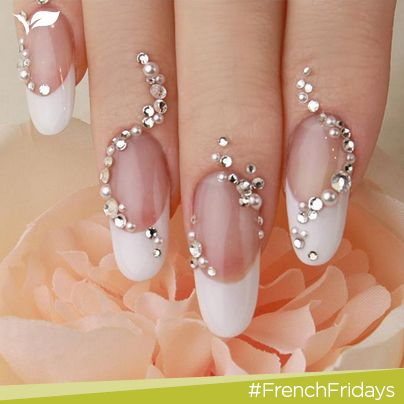 Lovely wedding nail manicure.