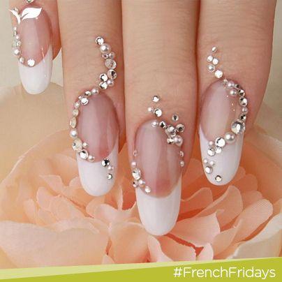 Lovely wedding nail manicure.