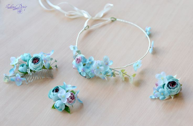 Boho flower girl flower crown blue floral head wreath turquoise floral crown blue hydrangea hair piece Girls crown photo shoot This gentle wreath for a special occasion: flower girls, photo shoot, or prom  Ready to ship Ship worlwide   The composition consists of hydrangea and ranuculus. Each element is woven into the wreath with satin ribbon. Wreaths size is controlled by the satin ribbon. length of wreath - 50 (cm ) / 19,68 (in) materials:  - fabric flowers - satin ribbon - wire frame ...