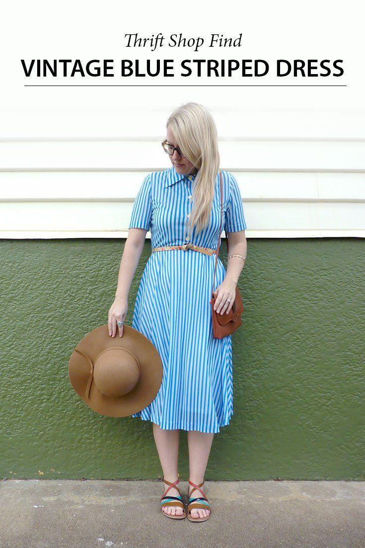 Vintage Blue Stripe Dress vintage, dress, op shop,  drift shop, shopping, fashion