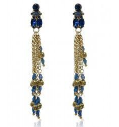 Boucles d'oreilles pendantes bleu et or