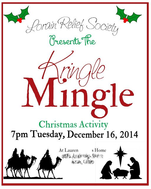 "Relief Society Midweek Meeting Activities: Relief Society Christmas Party ""Kringle Mingle"""