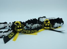 "Personalised ""Batman"" themed garter set."