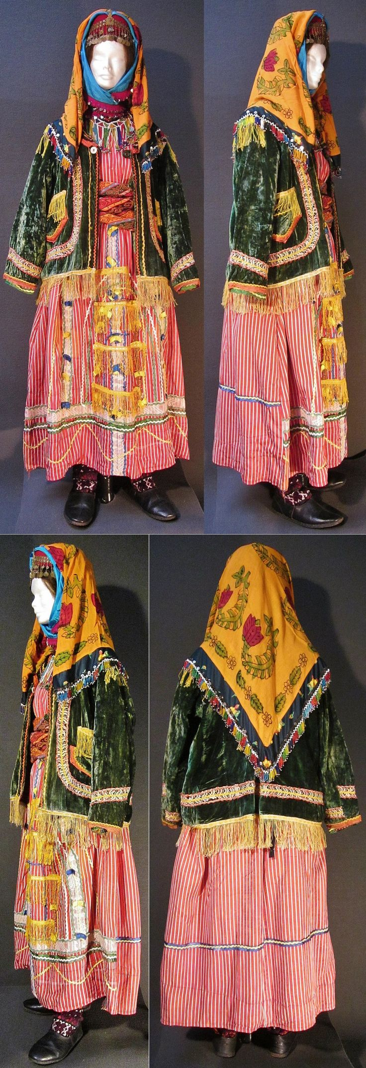 A traditional festive costume from Türkmen villages in the Dinar district (Afyon province), e.g. in the valley of Çölovası. Style of the mid-20th century. (Kavak Costume Collection-Antwerpen/Belgium).