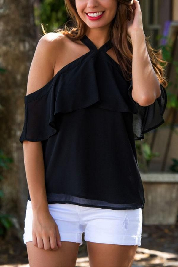 Open Shoulder Backless Flounce Plain Shirts & Blouses