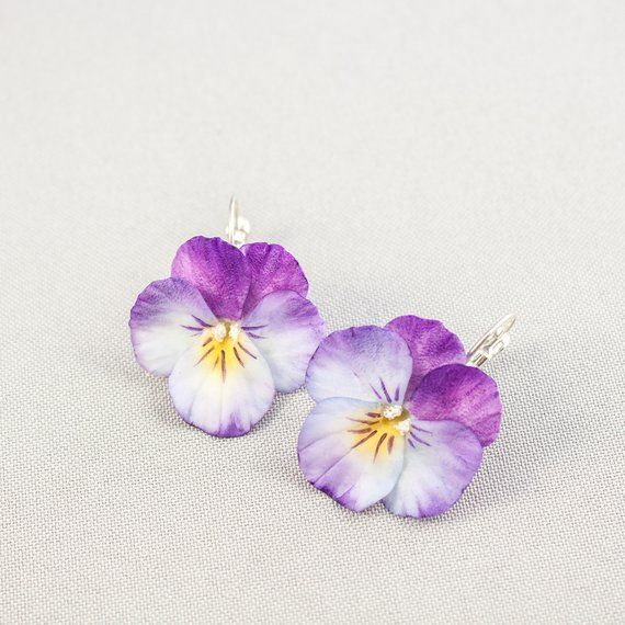 Pansy Earrings Realistic Flower Earrings Purple Pansy Floral Earrings Air Dry Clay Pansies Jewelry Floral Gift Joyeria De Ceramica Flores De Porcelana Fria Manualidades