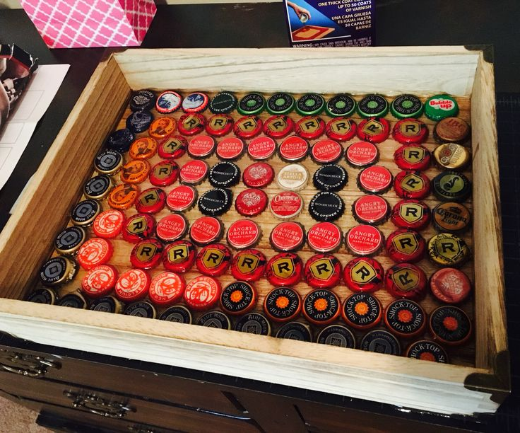 A handmade-homemade recycled beer cap serving tray! Only cost $20 total. Well, besides the beers 😜