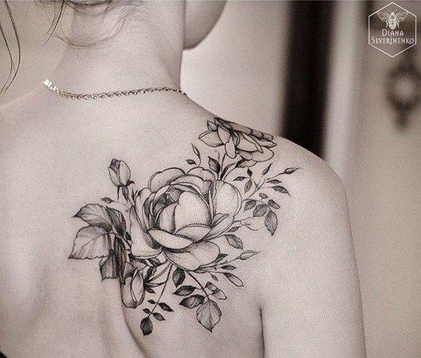 Black and White Rose Tattoo on Back Shoulder.