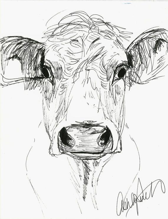 Cow Sketch by AshleyRicketson on Etsy, $15.00