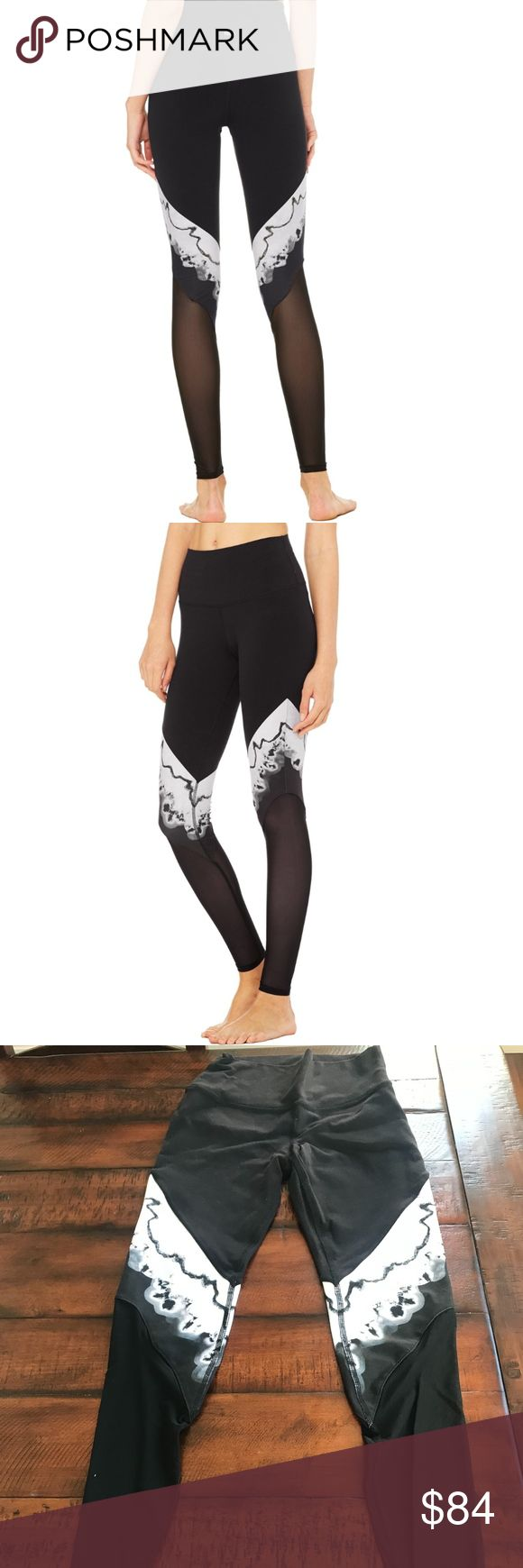 ALO Yoga HIGH-WAIST VERSE LEGGING Worn and washed once! EUC  Alo says: Slimming, lifting and performance enhancing, the Verse Legging is here with the coolest print of the season. And while we're utterly obsessed with the print, we can't get enough of the breathable mesh fabric, functional overlock seaming, and comfortable lined gusset.  - Engineered to lift, sculpt, contour and smooth - 4-way-stretch fabric for a move-with-you feel - Moisture-wicking antimicrobial technology - Breathable…