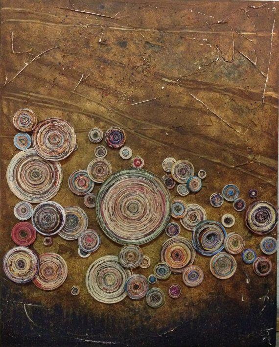 MENTE tribale - Mix media pittura ad olio con bobine di carta riciclata sul pannello. Questo è del tutto un pezzo riproposto o riciclato troppo. Il bordo