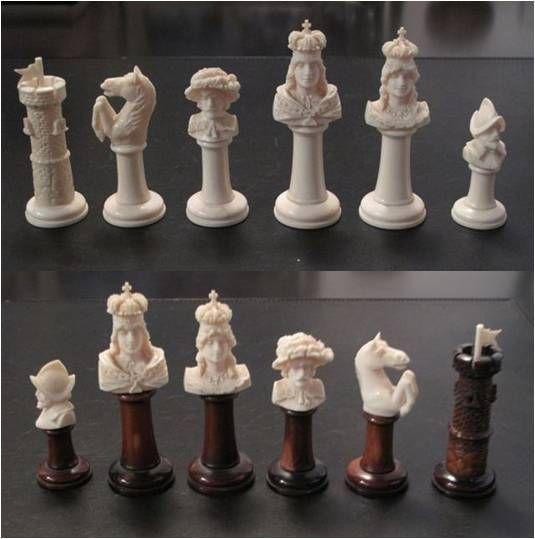German Ivory Bust Chess Figures, I Like The Rooks