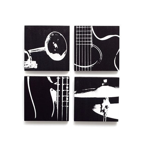 Superb Music Wall Art Set Of 4: 6 X 6 Guitar, Trumpet, Bass, Part 7