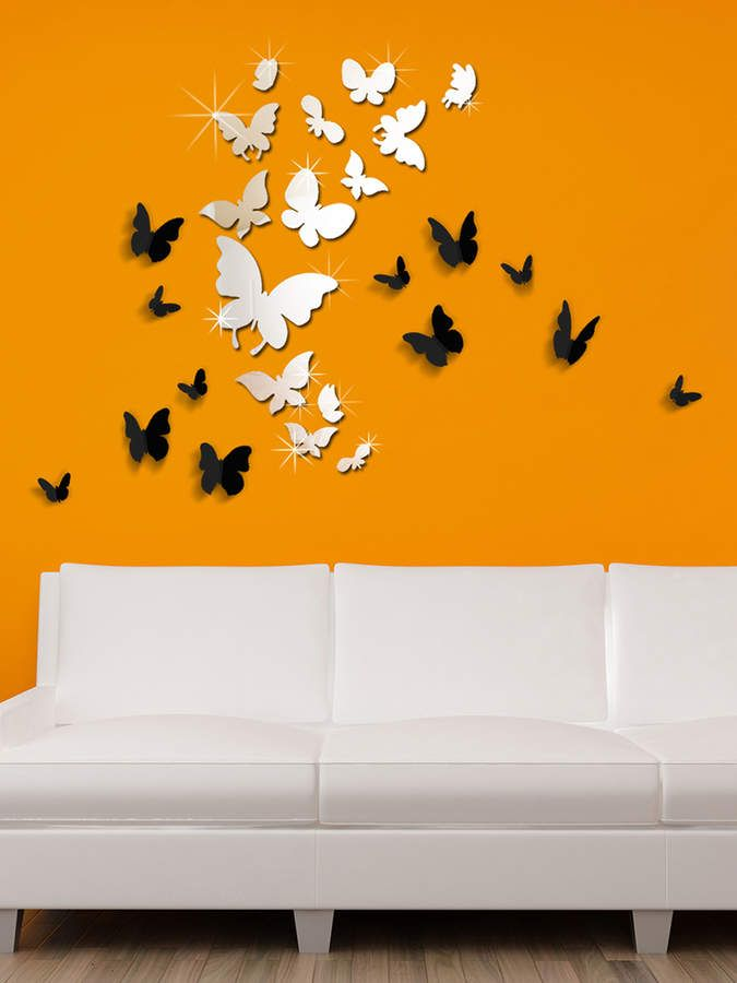 a4ef012d1f 14 Mirror Butterflies and 3D Butterfly Wall Sticker against an Orange wall .#affiliate
