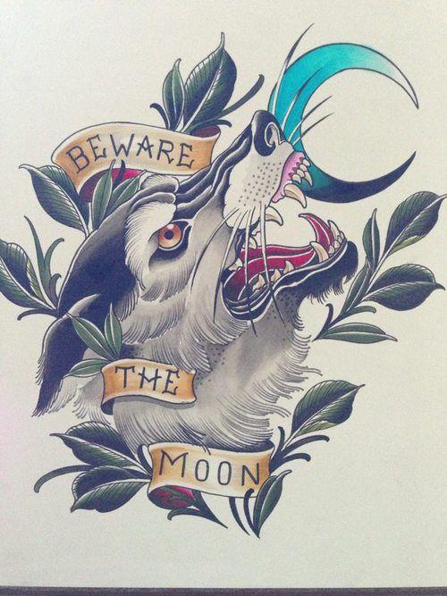 Traditional wolf tattoo idea