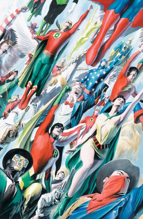 From the Silver and Bronze Age Justice League of America team-ups, the Seven Soldiers of Victory, the Justice Society of America, and Quality's 'Freedom Fighters'...by Alex Ross