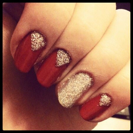 My work. Red & silver glitter nails. Cute, simple and perfect for any situation.