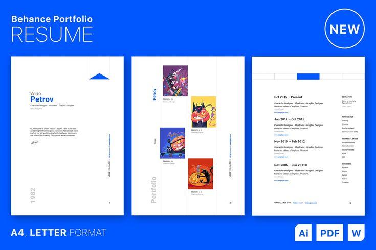 Behance portfolio resume design template a4 and us letter
