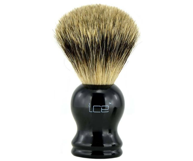 The Ice Black Pure Badger brush. The only mix in this brush the blend between affordability and quality. The all badger hair brush head soaks and retains water for the best lather around. Available at House of Knives.