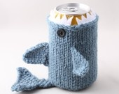 Monster Shark  - for your  Soda Can- Dusty Blue - This monster made it to the front page of Etsy. $18.00, via Etsy.