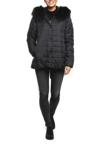 Jessimara 'Olivia' Black Raccoon fur collar on Black Thinsulate Puffer Coat