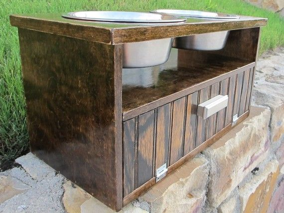 Raised Dog Feeder Double Wood Storage Dark By FetchNFluff, $85.00