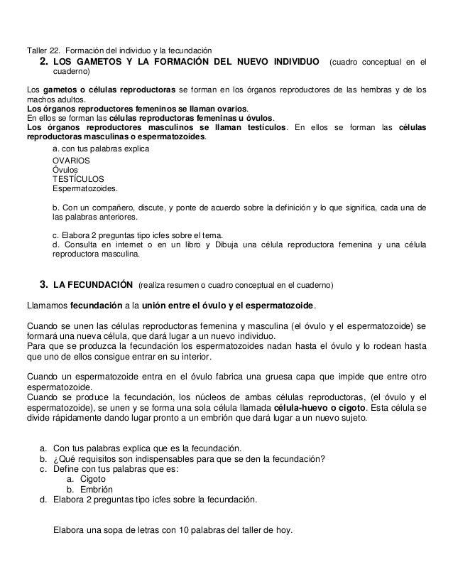 Taller 22. Formación del individuo y la fecundación   2. LOS GAMETOS Y LA FORMACIÓN DEL NUEVO INDIVIDUO (cuadro conceptual ...