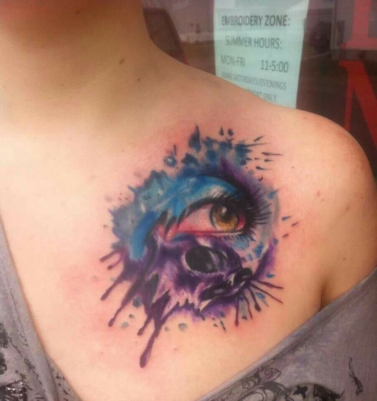 2017 trend Watercolor tattoo - Abstract watercolor skull eye tattoo on chest for girls...
