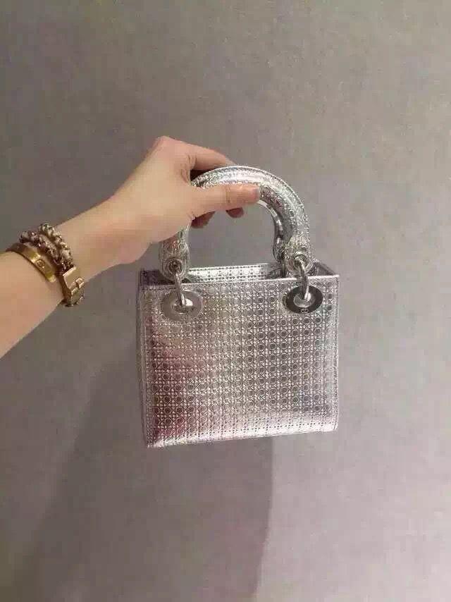 1c937e3d5d Dior Lady Dior Mini Metallic Perforated Calfskin Bag in Silver 2015 ...