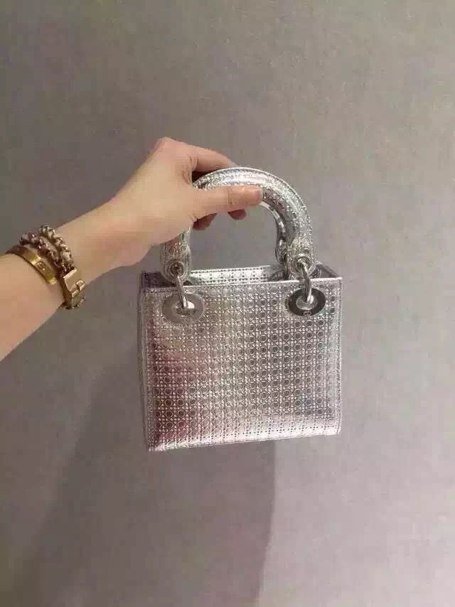Dior Lady Dior Mini Metallic Perforated Calfskin Bag in Silver 2015 ... 4f99226703b0a