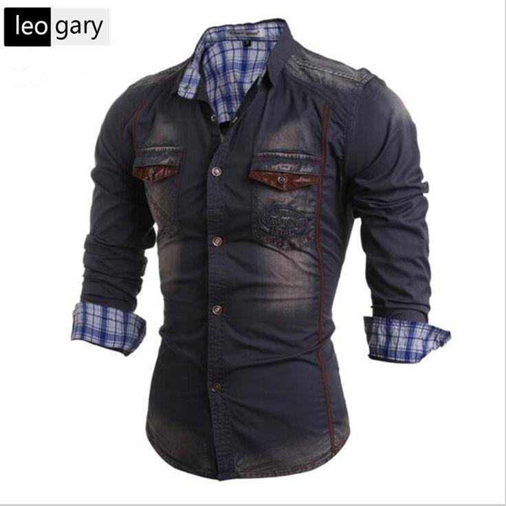 Moda Jeans Homens Camisa Lazer Slim Fit Marca de Jeans Casuais camisas 2016 Novo Cowboy Camisa de Manga Comprida Masculina Camisa de Brim Masculina em Camisas casuais de Dos homens de Roupas & Acessórios no AliExpress.com | Alibaba Group