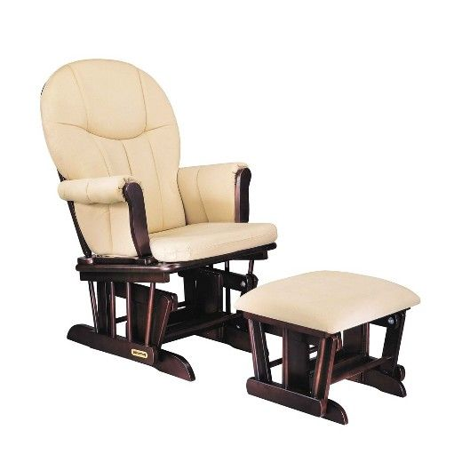 Nurse or rock your baby with the Danielle deluxe sleigh-style glider rocker and ottoman set. The gliders comfortable rocking motion relaxes both the mom and the baby. This glider comes with a matching ottoman where you can rest your tired feet. With padded armrest and removable cushions, this rocker offers comfort and support. This glider rocker with ottoman has an espresso finish that blends well with any nursery décor. The removable cushions make cleanup a breeze. Wipe the glider...