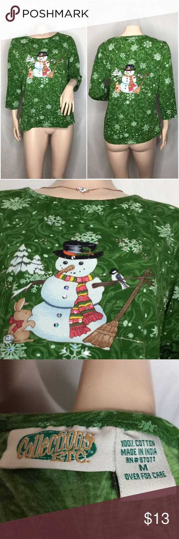 SALE🎉Holiday Shirt 🎄❄️ Cute Christmas shirt ☺️ As the holidays approach very very quickly, this is perfect to add to the closet.... There is ton of diamonds on the design in the front☃️❄️🎄 • GREAT CONDITION , collections ect. Tops