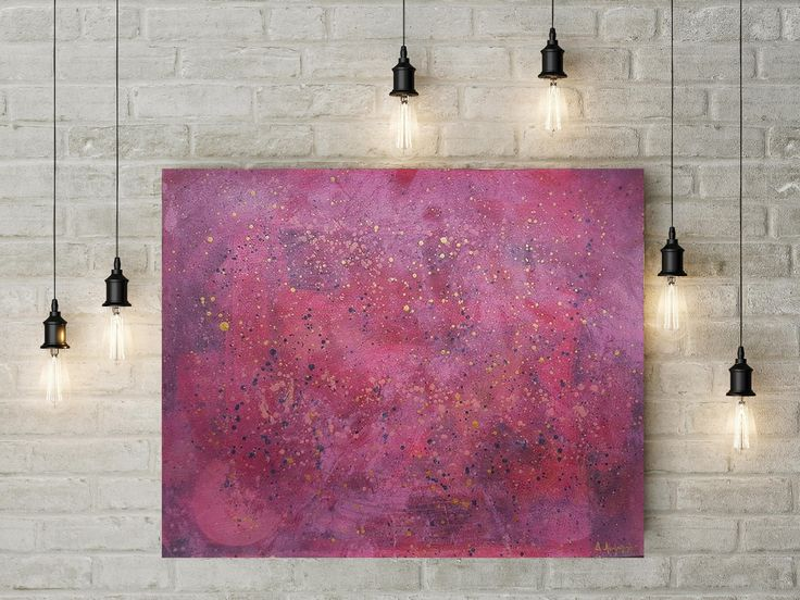 Large Wall Art for Living Room Decoration Pink Original Abstract Expressionistic Painting Contemporary Art Acrylic Painting on Paper by DeniseArtStudio on Etsy