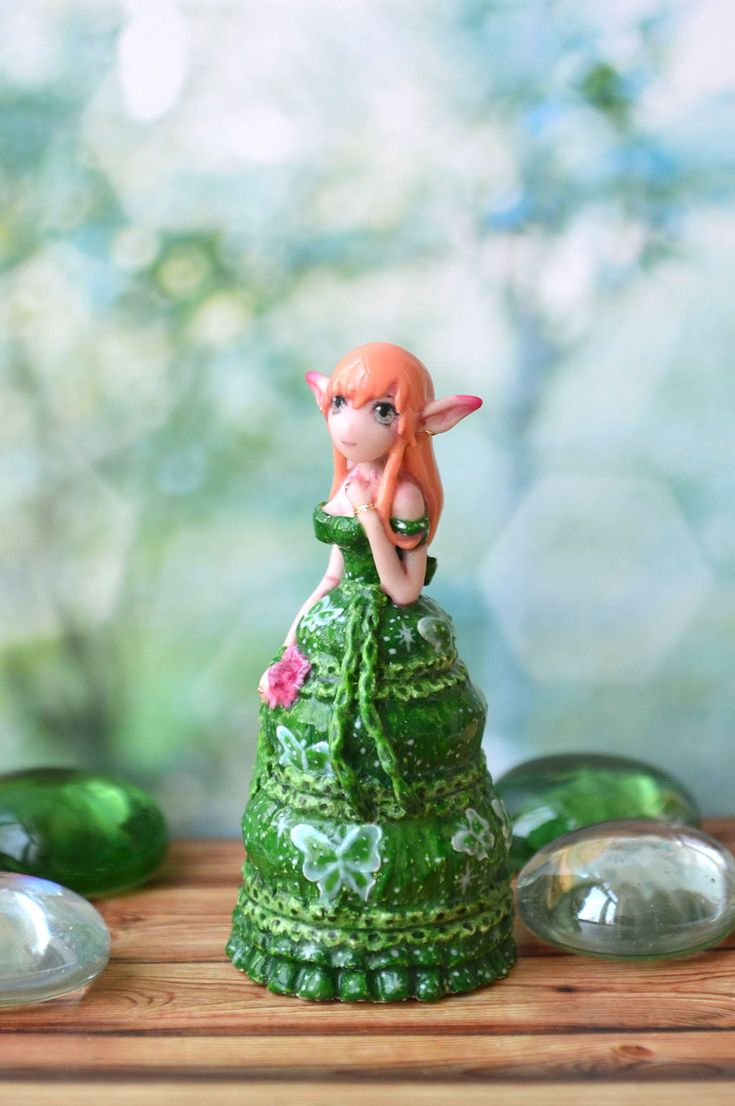 "Miniature ""Emerald Lake"", Spring Fairy, art doll, fairy sculpture, handmade doll, posable doll, fairy doll, Collectable doll, Mini doll"