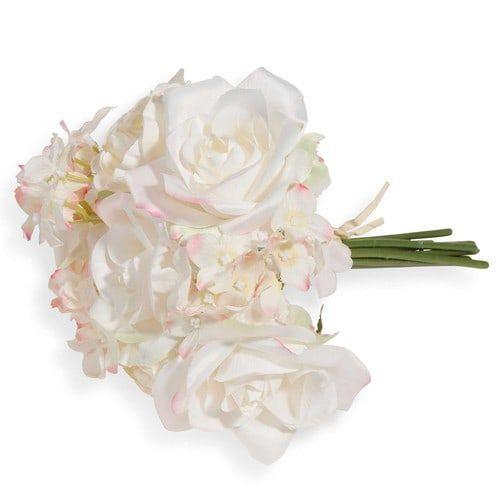 Künstlicher Strauß Rosen und Hortensien weiß