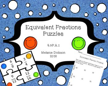 Fun way to practice recognizing equivalent fractions.  Perfect for math centers and stations,  Includes a recording sheet for accountability, as well as an answer key.