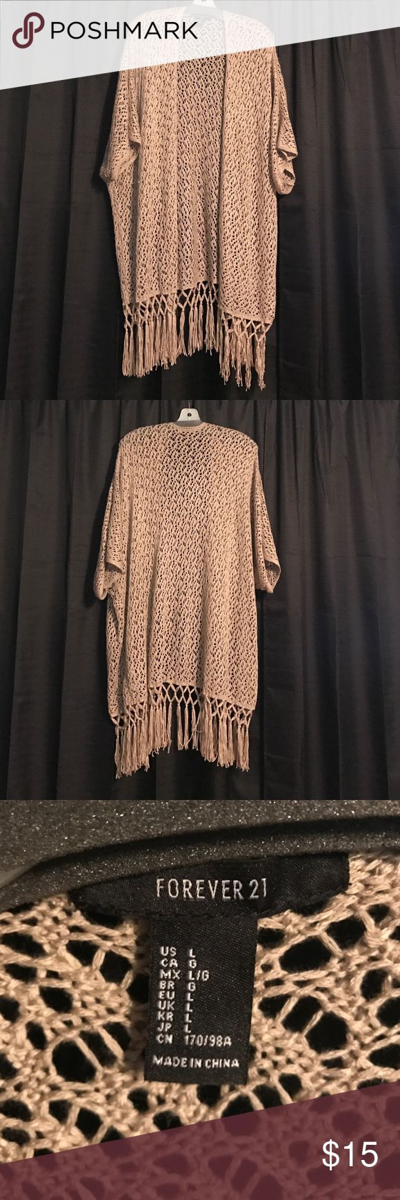 🆕💋 Fringe Cardigan Forever 21 Fringe Cardigan. 100% Acrylic. Short sleeve. Perfect! Not a pull on it! Worn once. Can easily fit an XL or 1X. Forever 21 Sweaters Cardigans