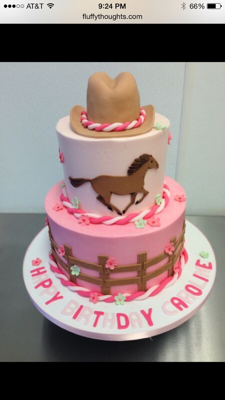 Terrific One Tiered With Horse On Top Cowgirl Birthday Cake Idea Horse Personalised Birthday Cards Bromeletsinfo