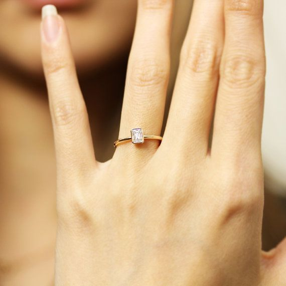 0.33ct Emerald Cut GIA Certified Diamond Engagement Ring In
