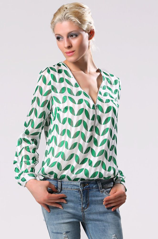 Fashion MODA DONNA camicia Casual STILE VINTAGE Hot Fashion Leaf Pattern Blouse
