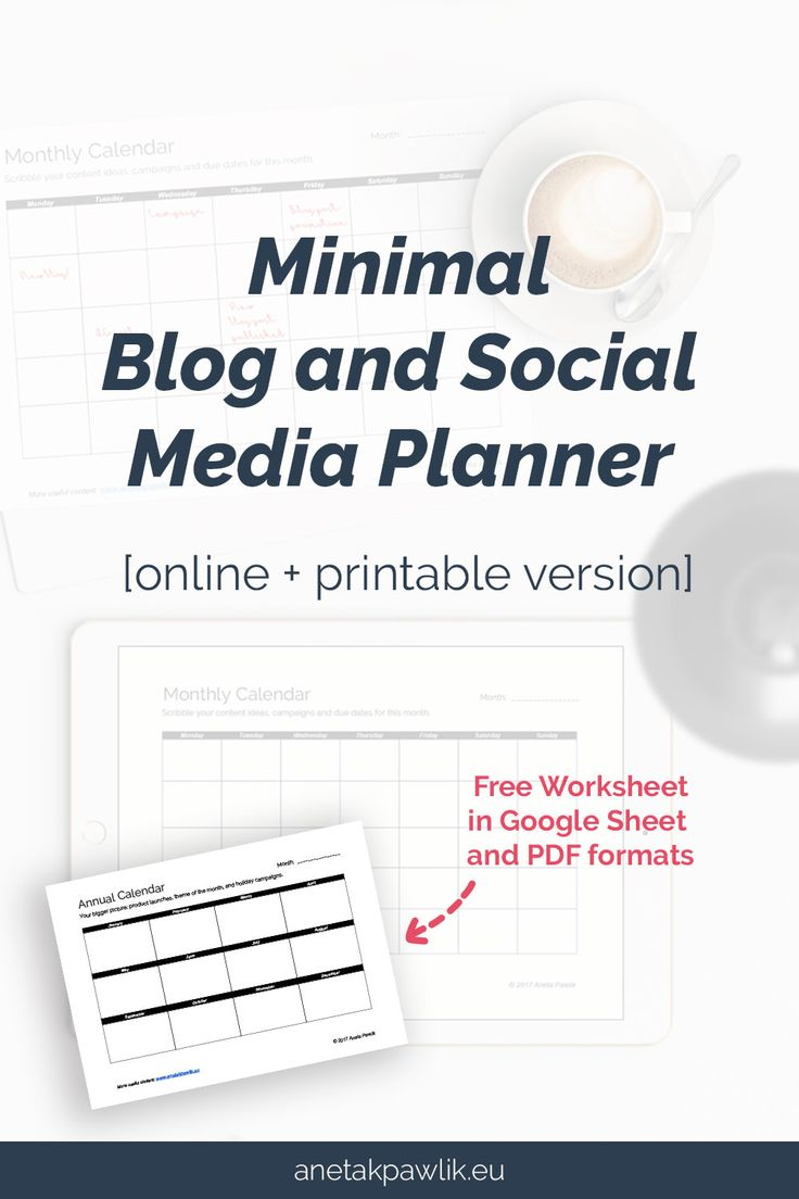 Minimal Blog and Social Media Planner [online  printable version]