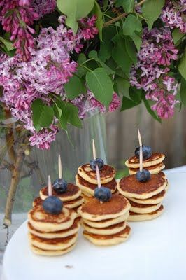 Party in the garden, what cute stacks of mini pancakes!