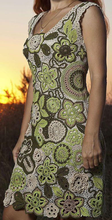 """Купить Платье вязаное крючком """"Я-Весна"""" - весна, зелень, зелёный цвет, ирландское кружево"""