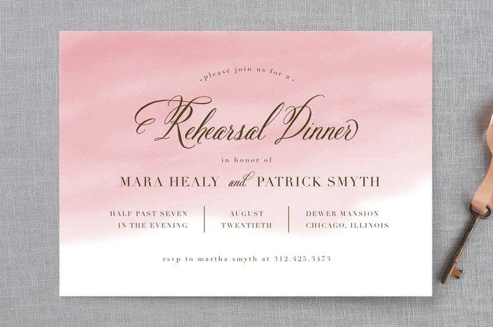 """Watercolor Wash"" - Elegant Rehearsal Dinner Invitations in Blush by Lehan Veenker."